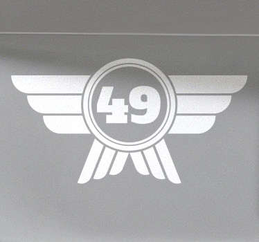Car sticker with a classic number design with a winged shield, perfect to decorate the doors or hood of your car. Easy to apply.
