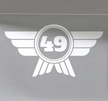 Sticker logo mini numéro personnalisable