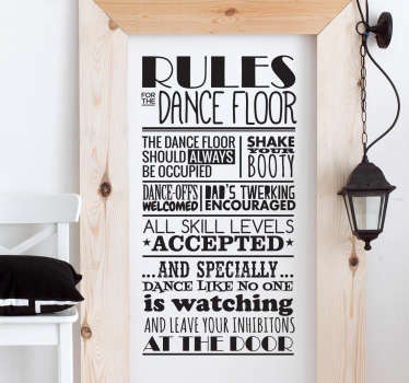 Sticker texte règles de danse