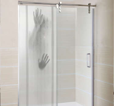 Shower wall sticker with a recessed figure! Make your bathroom the scene of a horror movie scene by decorating your shower screen with this sticker!