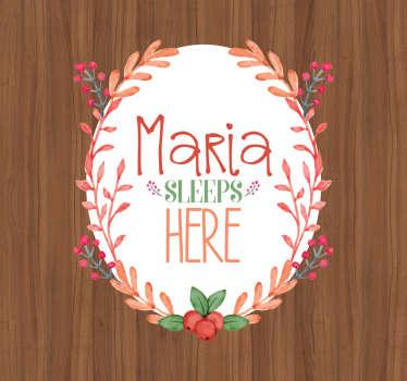 Adesivo per porta name sleeps here
