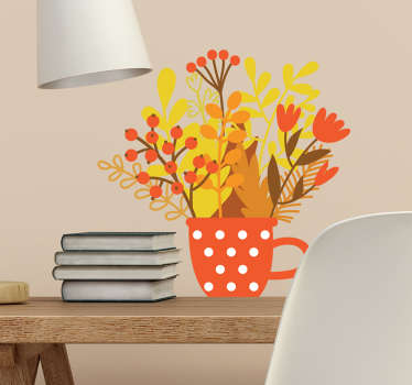 Autumn begins and we can all curl up in front of the fireplace and drink a hot cup of tea with this autumn wall sticker with a cup and flowers.