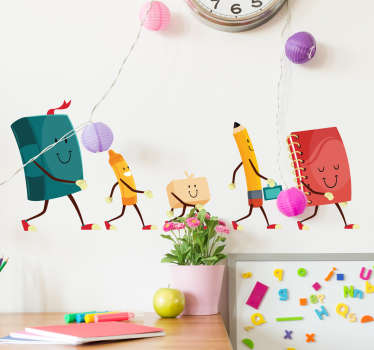 Check out our colorful educational wall sticker that has a pen and eraser on it. We have over 10,000 happy customers on the website.