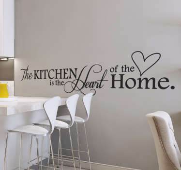 """The Kitchen is the Heart of the Home"" wall sticker for kitchens. A lovely design those who love to cook or be together with their family in the kitchen."