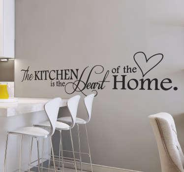 Muursticker tekst kitchen heart home