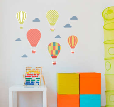 Check out our funny kids wall sticker that has colorful air balloons and clouds on it. You can customize the size to fit your walls perfectly!