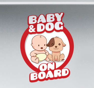 Baby og hund ombord sticker