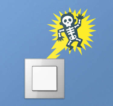 A light switch decal where every time you switch on the light, the man is electrocuted! A funny kids bedroom sticker your kids will love.