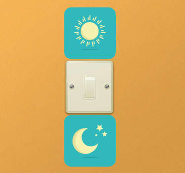 Light switch vinyl sticker with a sun and a moon, each of them inside a blue square. The selectable sizes refer to the switch box.
