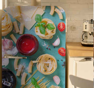 Adesivo para frigorífico com comida