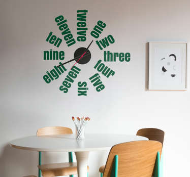 Wall clock sticker with a simple design that consists of the hours written in English that will decorate your home in a very original way.