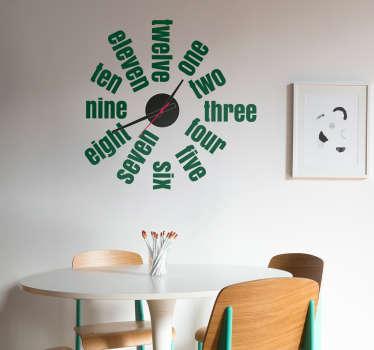 Vinilo decorativo reloj números en inglés