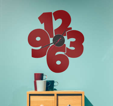 Wall clock sticker with a fun design that consists of the main numbers of a watch with a large and original design. Available in 50 different colors.