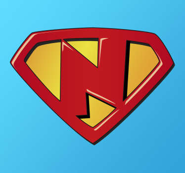 If your son or daughter has a name that begins with N make him feel like a superhero or superhero with this children's sticker.