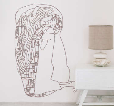 Wall art decal with an original and modern recreation of a famous painting by Gustav Klimt. Extremely long-lasting material.