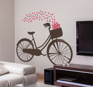 Love sticker, with a representation of your a bicycle in retro style. Dozens of hearts fly out of the basket. Discounts available.