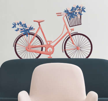 Retro bicycle wall sticker with a nice illustration of your favorite vehicle in pink tones and bouquets of blue flowers.