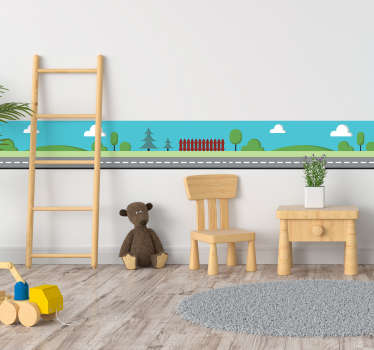 Self-adhesive wall border sticker ideal for decorating the kids room a drawing of a road and in the background a country landscape.