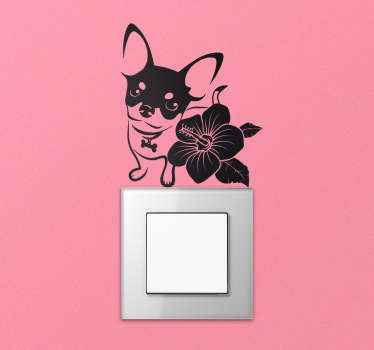 Sticker interrupteur chihuahua et orchidée