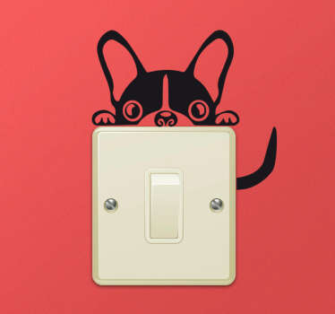 Hiding Frenchie Light Switch Sticker