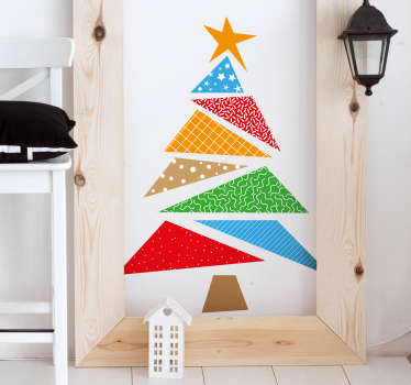 Colourful Christmas tree wall sticker