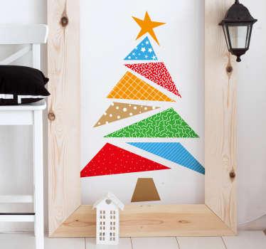 Adesivo natalizio albero colorato