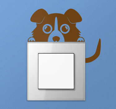 Vinilo interruptor perro asomándose