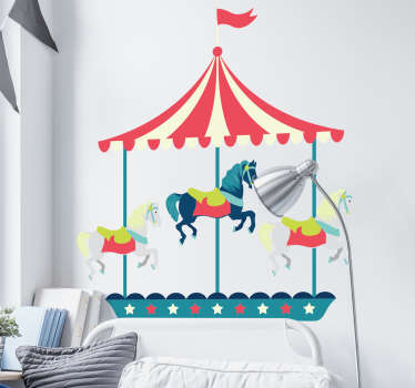 Circus wall sticker for your children's room with the drawing of a live fair carousel, ideal to place on the head of his bed.