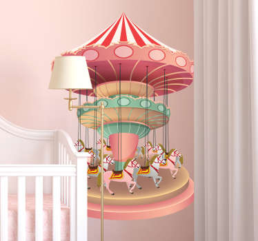 Children's wall sticker with the drawing of a carousel in pink tones, ideal sticker to personalize your children's usual play or rest room.