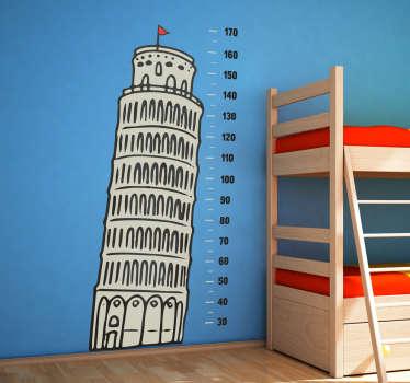 Muursticker groeimeter toren van Pisa