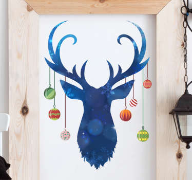 Reindeer  and baubles christmas wall sticker