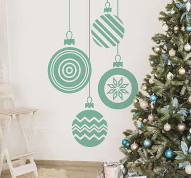 Christmas wall stickers - Celebrate the most wonderful time of the year with this Christmas bauble decal. The sticker features 4 Christmas baubles all with different patterns.