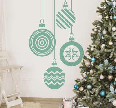 Noel baubles dekoratif duvar sticker