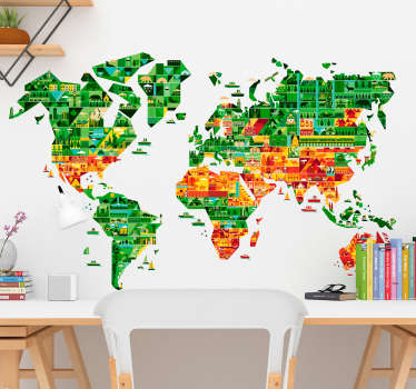 Spectacular world map wall sticker with the profile of the continents filled with figures that recreate the most emblematic places.