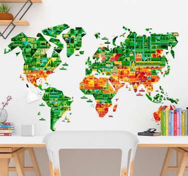 Espectacular vinilo mapa del mundo con el perfil de los continentes rellenos de figuras que recrean los lugares más emblemáticos de cada lugar.