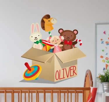 Sticker enfant boite à jouets personnalisable