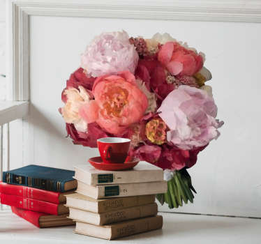 Vinilo conjunto de flores dibujo poligonal