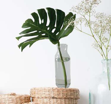 Muursticker gatenplant blad in vaas