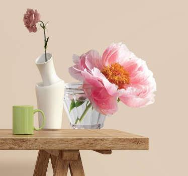 Roséfarvet blomster sticker