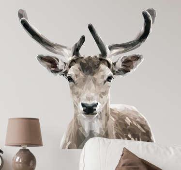 Vinilo pared retrato ciervo poligonal