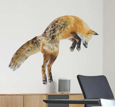 Spectacular wild animals wall sticker with the drawing of a jumping fox, made by the illustrator Mai exclusively for Tenstickers.