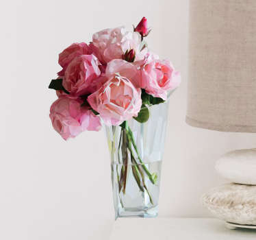 Ruusuja maljakossa sisustustarra