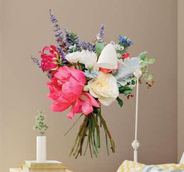 Geometrinen kukkakimppu sisustustarra