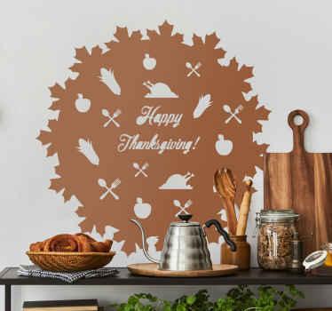 """우리가 잔치에서 사랑하는 모든 것들의 동기가있는 전통적인 추수 감사절 스티커; 칠면조, 칼 붙이, 옥수수 및 텍스트""""행복한 추수 감사절"""""""