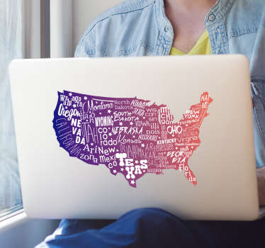 Decorative USA map laptop sticker designed with the states written on the map. Decorate your Mac or PC with this beautiful American map sticker.