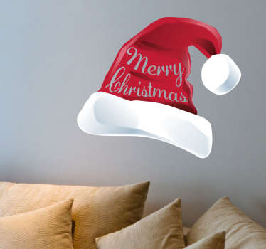 This Santa hat is the perfect decoration for Christmas. Get the right atmosphere in your home with this iconic decal