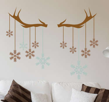 Christmas snowflake and antler wall sticker