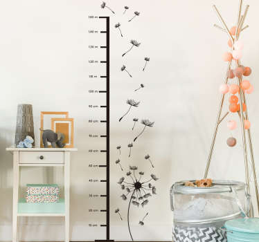 This beautiful height chart wall sticker with flowers is available in over 45 different colors. It is extremely long-lasting