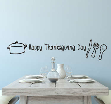 Cutlery and text thanksgiving sticker. This beautiful sticker decorated with text, cutlery and saucepan. Is the perfect decoration for the big day.