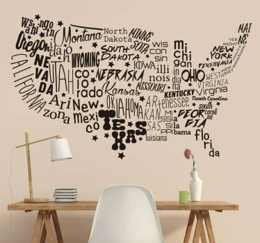 Decorative map wall sticker of the United Nation of America with all the states written inside the map. The perfect decoration solution for your home.
